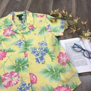 Ralph Lauren Yellow Linen Hawaiian Button Down Top